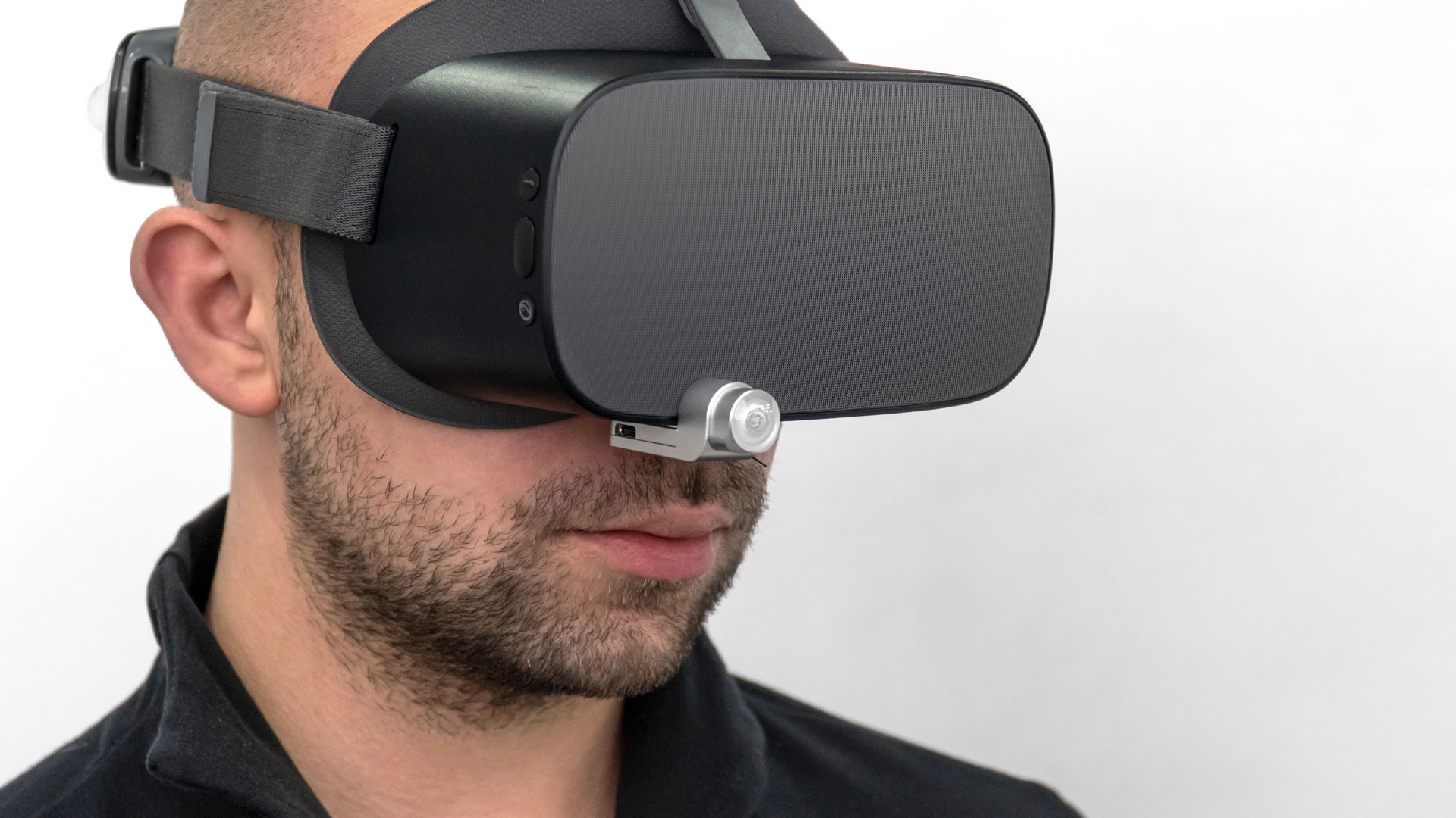 virtual reality headset with Alt- Antilatency tracker connected by usb-c type antilatency radio-socket